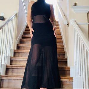 Vintage 90's Black Floor Length Formal Prom Gown M